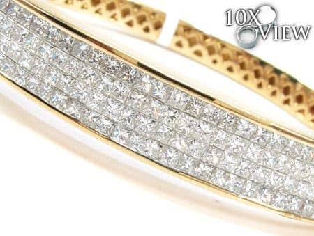 14K Gold 4 Row Diamond Bangle Bracelet 25421 Diamond