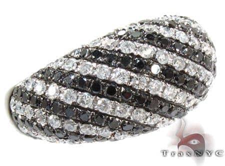 14K Gold Black and White Diamond Stripe Ring 25440 Anniversary/Fashion
