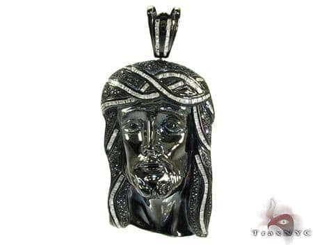 Silver Black and White Diamond Jesus Head Pendant 25559 Style
