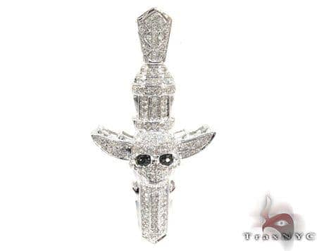 Silver Diamond Skull Cross Crucifix Pendant 25568 Silver