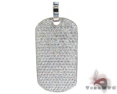 14K Gold Fully Ice Diamond Dog Tag Pendant 25595 Style