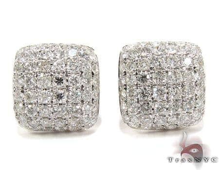 18K Gold Diamond Pillow Earrings 25603 Stone