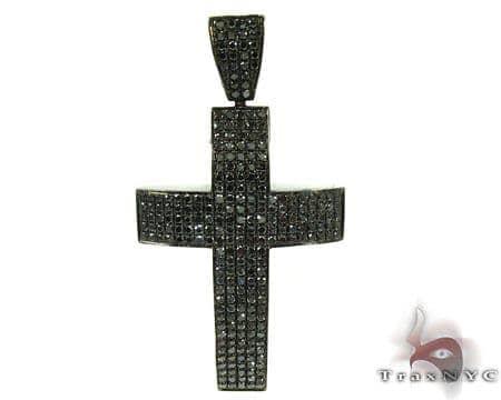 14K Gold  Fully Black Diamond Cross Crucifix 25605 Diamond