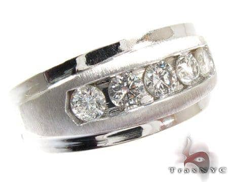Mens Luxuriousness Five White Gold Wedding Ring Stone