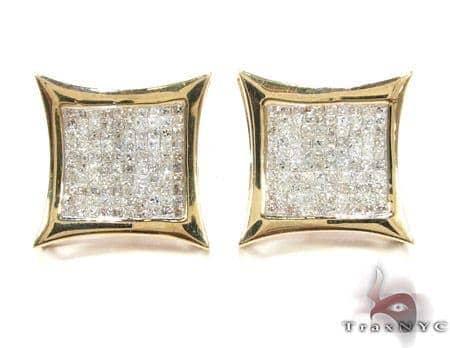 Sharp Yellow Gold Diamond Earrings 26021 Stone