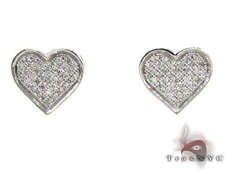 Micro-Pave Diamond Heart Earrings 26075 Stone