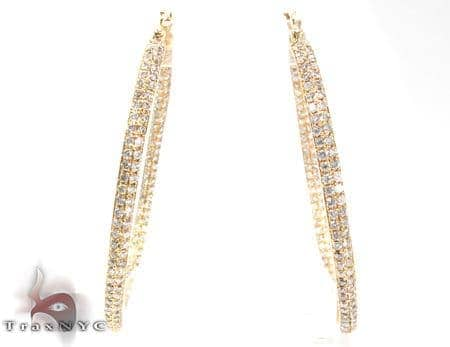2 Row Diamond Hoop Earrings Style
