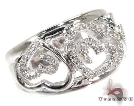 Triple Heart Diamond Ring Anniversary/Fashion