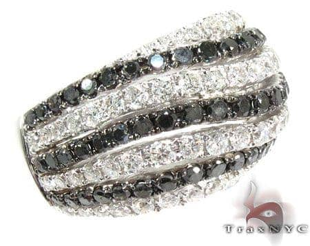 Black and White Water Wave Diamond Ring Anniversary/Fashion
