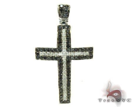 Black and White Diamond Cross Crucifix Diamond