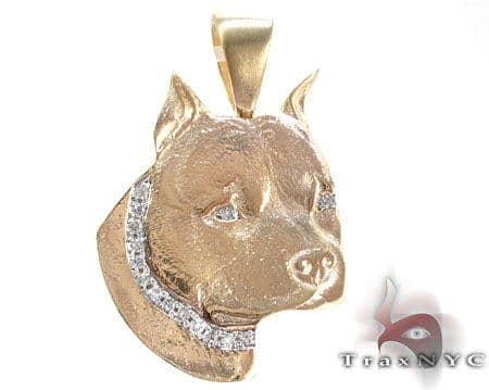 Dog Yellow Gold Diamond Pendant Metal