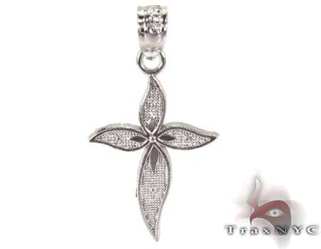 Petals Cross Crucifix Silver Tiny Pendant Style