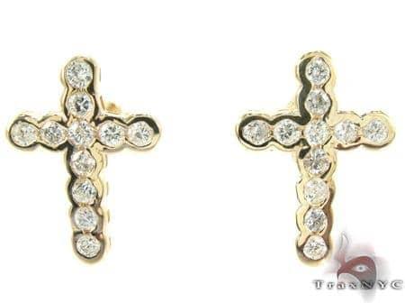 Ladies Yellow Gold Diamond Cross Crucifix Earrings Stone