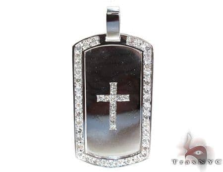 Diamond Cross Crucifix Dog Tag Style