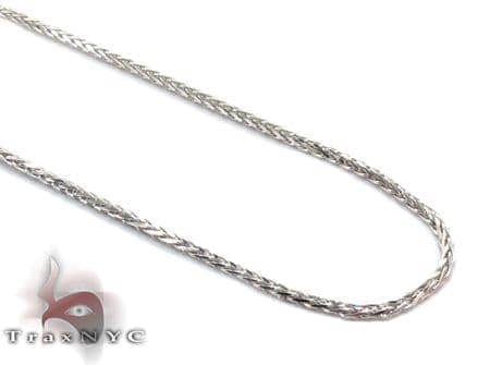 White Gold Thin Franco Chain 20 Inches, 1mm, 2.5 Grams Gold