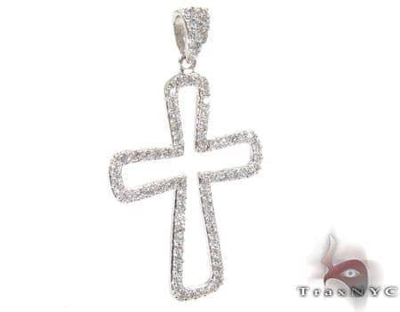 White Gold Diamond Cross Crucifix 27111 Style