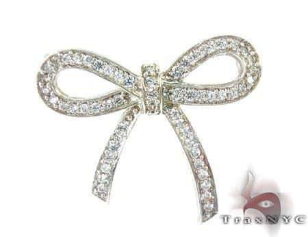 Girls Ribbon Diamond Pendant Stone