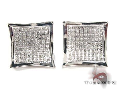 Curved Square Diamond Earrings 27123 Metal