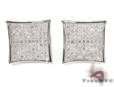 Curved Square Diamond Earrings 27124 Metal