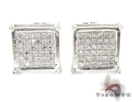 Silver Mini 3D Square Earrings 27238 Metal