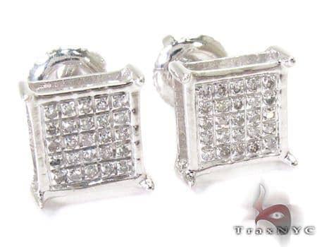 Single Silver Mini 3D Square Earring 27239 Metal