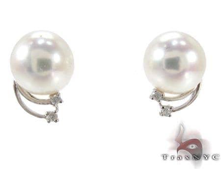 Orion White Pearl Diamond Earrings Stone