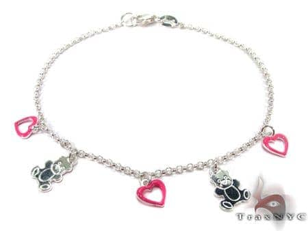 Hot Pink Heart Bear Baby Silver Bracelet Silver & Stainless Steel