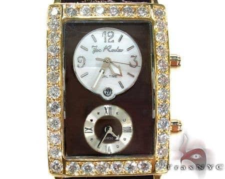 Joe Rodeo Yellow Gold Manhattan Diamond Leather Watch Joe Rodeo