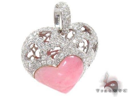 Strawberry Heart Diamond Gemstone Pendant Style
