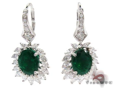 Protea Emerald with Marquise Diamond Earrings Stone
