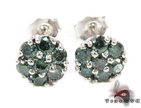 Green Diamond Cluster Earrings Stone