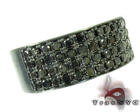 4 Row Black Diamond Ring Stone