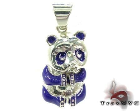 Purple Enamel Panda Pendant Metal