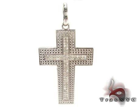 Silver Diamond Cross Crucifix Silver