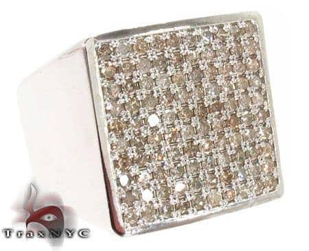 Square Silver Diamond Ring 28062 Metal