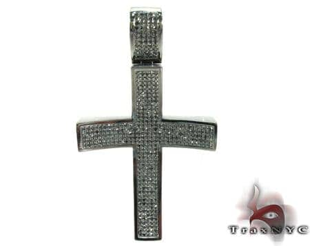 Black Curve Silver Diamond Cross Crucifix Silver