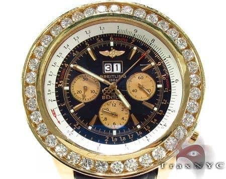 Breitling Bently Diamond Bezel Leather Band Watch Breitling