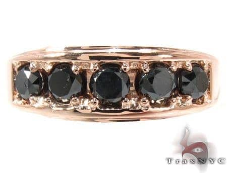 14K Rose Gold Black Diamond Band 28402 Stone