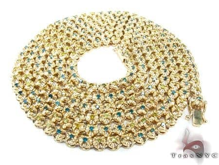 Canary and Blue Diamond Chain 54 Inches, 5mm, 160.1 Grams Diamond