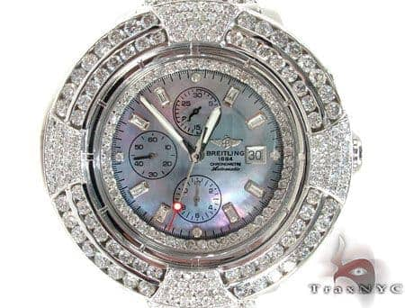 Breitling 14K Gold Mother of Pearl Dial Full Diamond Watch Breitling