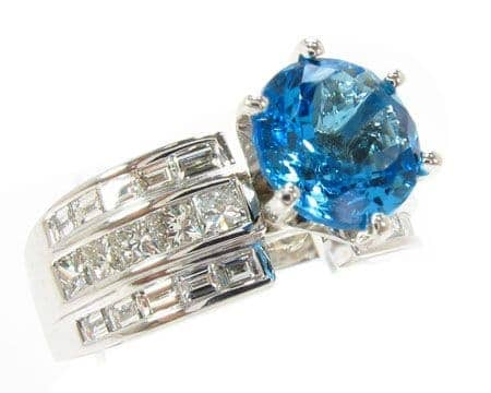 Custom Blue Topaz Ring Anniversary/Fashion