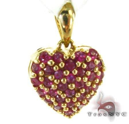 Yellow Gold Pink Sapphire Heart Pendant Stone