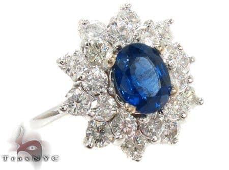 Cornflower Blue Sapphire Diamond Ring Anniversary/Fashion