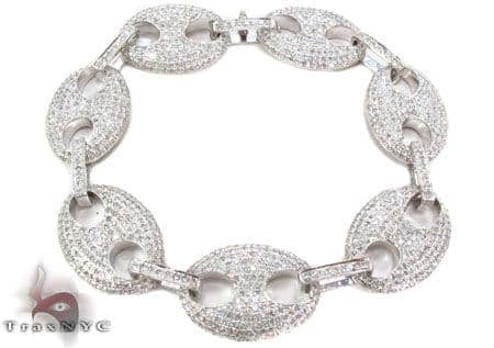 Gucci Link Bracelet Mens Diamond White Gold 18k