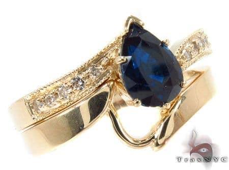 flawless sapphire Saturn Ring Set Anniversary/Fashion