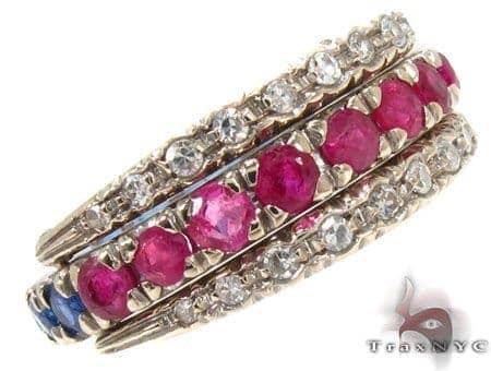 flawless Ruby & Sapphire Diamond Ring Anniversary/Fashion
