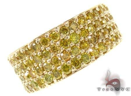 4 Row Canary Color Diamond Band 30984 Stone