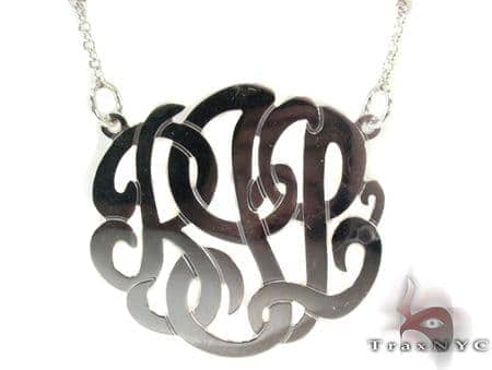 Silver Name Plate Monogram Necklace 30996 Silver