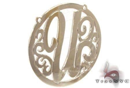 Silver Name Plate Monogram Pendant 31028 Metal