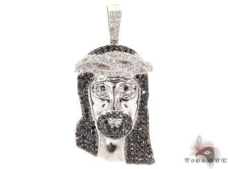 Black and White Diamond Jesus Pendant Style